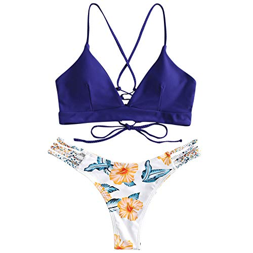 ZAFUL Women Swimwear Adjustable Back Criss-Cross Braided Spaghetti Strap Flower Bikini Set Denim Dark Blue S