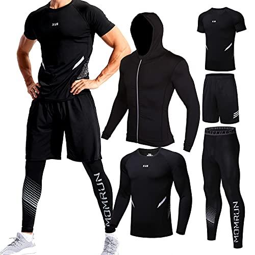 Männer Workout Kleidung Outfit Fitness Bekleidung Fitnessstudio Outdoor Laufen Kompressionshose Shirt Top Langarm Jacke 4PCS oder 5pcs schwarz M