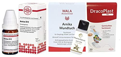 Arnika D12 Erste Hilfe Set (bereits ab dem Säuglingsalter anwendbar) enthält: Arnika D12 Globuli, 5 x Arnika Wundtücher, Pflastermix und ein Pflegeprodukt der Marke Pharma Nature