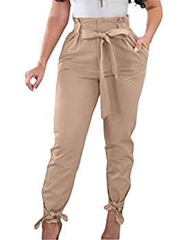 GOBLES Women Solid Casual Work Trousers High Waist Ruffle Bow Tie Pants Light Tan
