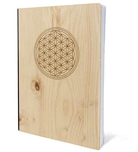 Cuaderno con tapa de madera en A5, diseño de flor de la vida, cuaderno de madera de pino, 192 páginas en blanco, 90 g