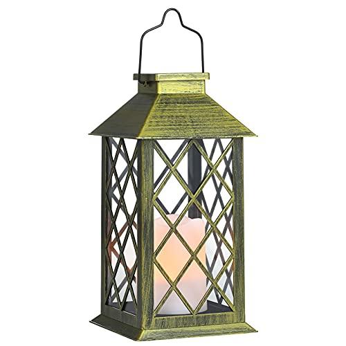 Tomshine Linterna Solar con Vela Efecto Luz LED Solar Jardín Lámpara,Estilo Vintage, Exterior Iluminación Balcón Jardín Faroles de Decoracion