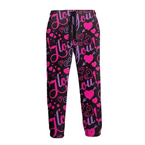 Men's Sweatpants I Love You Casual Pants Soft Comfortable Joggers Sport Pants for Men L