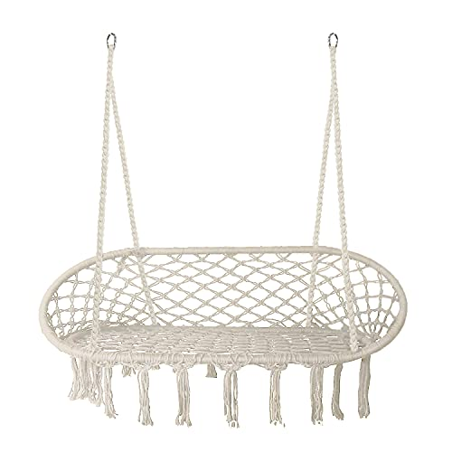 Hammock Chair Macrame Swing, Bohemian Style Handwoven Cotton Macrame Hammock, Indoor and Outdoor Mesh Hanging Chair Swing for Home, Bedroom, Patio, Yard and Garden, Great for Decor and Relaxation