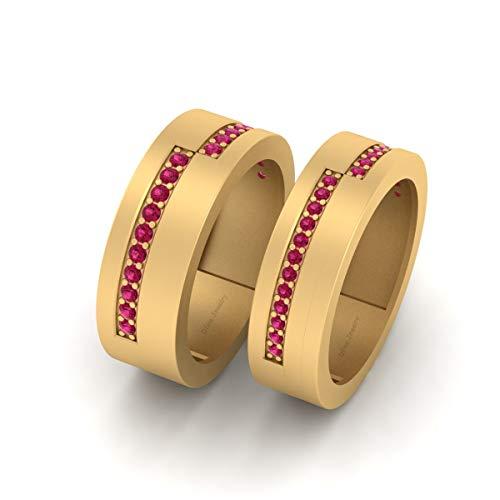 Juego de alianzas de boda para él y ella de 0,40 quilates de diamantes rosados a juego para parejas, oro amarillo Fn de plata de ley 925