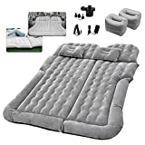 Grey SUV Air Mattress Car Bed Camping Cushion Pillow - Inflatable Thickened Car Air Bed with Electric Air Pump Flocking Surface Portable Sleeping Pad for Travel Camping Minivan Van Trunk