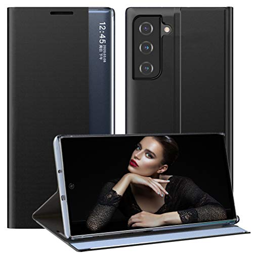 vivio Compatible con Samsung Galaxy S21 5G, funda de piel con tapa, ultrafina, con función atril, teclas transparentes, antigolpes, para Samsung Galaxy S21 5G