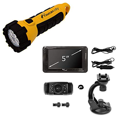 Toucan City LED Flashlight and Yada Digital Wireless Backup Camera with 5 in. Display BT55376T-2