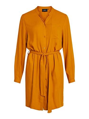 Object Damen Blusenkleid Bindegürtel 36Buckthorn Brown