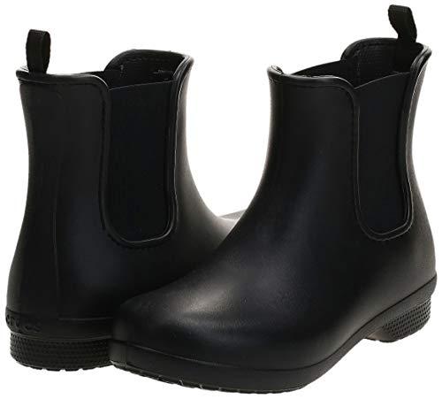 Crocs Women's Freesail Chelsea Ankle Rain Boots, Black/Black, 8