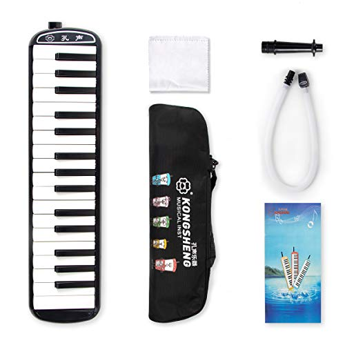 Kmise 32鍵盤ハーモニカ パイプ メロディピアノ キーボード 立奏・卓奏唄口 キャンリングケース・ホース・クロス・日本語取扱説明書付き