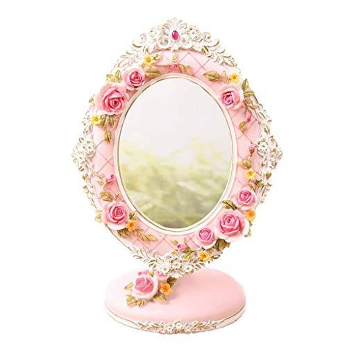 Espejo Maquillaje Espejo de vestir Espejo de la mesa de la mesa de la tabla de la mesa de la mesa, el espejo del maquillaje HD Rose del estilo romántico de la princesa del espejo del regalo de la boda
