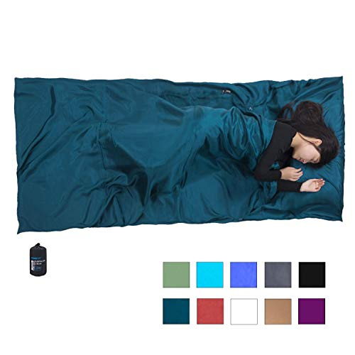 Browint Silk Sleeping Bag Liner, Silk Sleep Sheet, Sack, Extra Wide 87'x43', Lightweight Travel and Camping Sheet for Hotel, More Colors for Option, Reinforced Gussets, Pillow Pocket