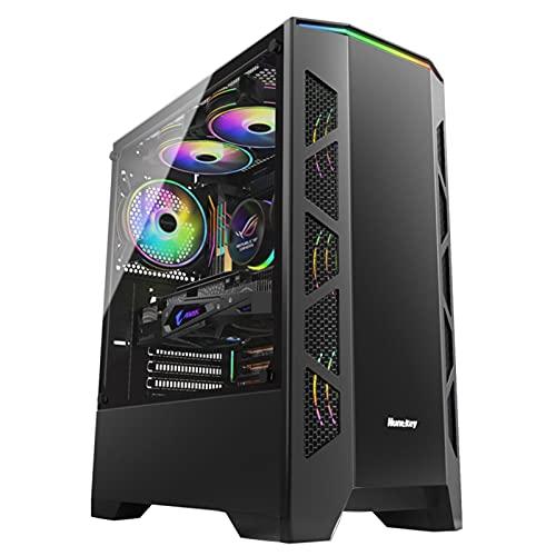 WSNBB Carcasa De PC, Chasis De Juego Lateral De Vidrio Templado, Chasis ATX Refrigerado por Agua, 6 Posiciones De Ventilador, Admite Refrigeración por Agua 120/240 (Color : Black)