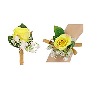USIX 2pc Pack-Handmade Artificial Flower Yellow Rose Flower Wrist Corsage & Men's Lapel Boutonniere Pin Combo Set Package with Gold Ribbon for Wedding Party Prom Homecoming (Style G)