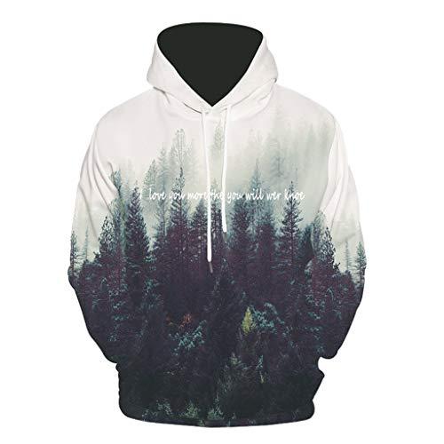 AEMUT Männer 3D Pullover Smog Wald Sweatshirt der Frauen beiläufige Jacken-Mantel-Street Maxi-Langarm,White-XXL