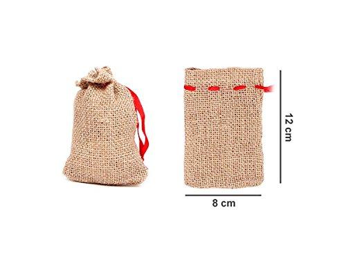 Alsino Jutesäckchen 24 Stück Jutesäcke Set (js-01) Adventskalender Säckchen, 12 x 8 cm, zum Basteln & befüllen