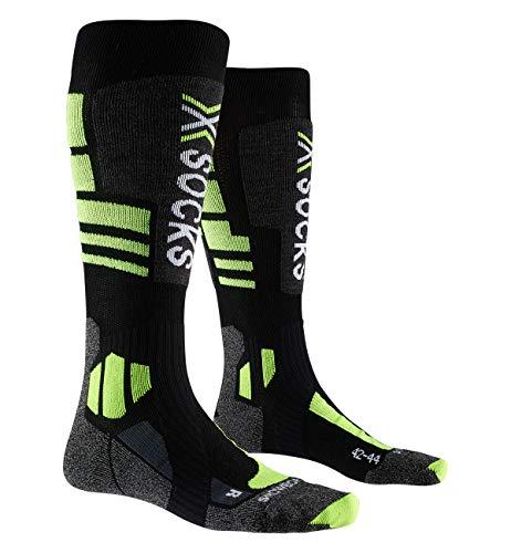 X-Bionic X-Socks 4.0, Calze da Sci Snowboard Resistenza Prestazioni Uomo Donna Unisex – Adulto, Black/Grey/Phyton Yellow, 42/44