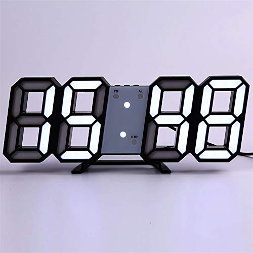 N\A Wanduhr Wanduhr Modern Design Wohnzimmer Dekor Watchuhr 3D LED Digital Table Alarm Nightlight Leuchten Desktop Taktinnerungsdekoration. (Farbe : Wall Clock a)
