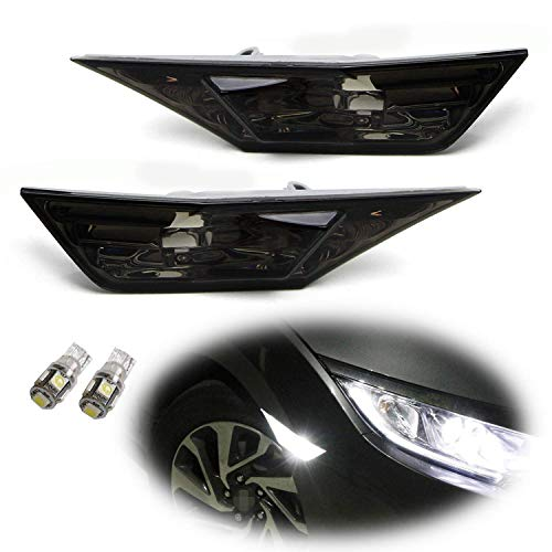 iJDMTOY JDM Smoked Lens White LED Bulb Front Side Marker Light Kit Compatible With 2016-up Honda Civic Sedan/Coupe/Hatchback, Replace OEM Amber Sidemarker Lamps