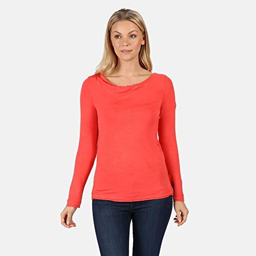 Regatta T- Shirt Manches Longues FRAYLER avec col Boule et Fente sur Le côté à l'ourlet Polos/Vests Femme, Red Sky, FR : M (Taille Fabricant : 14)