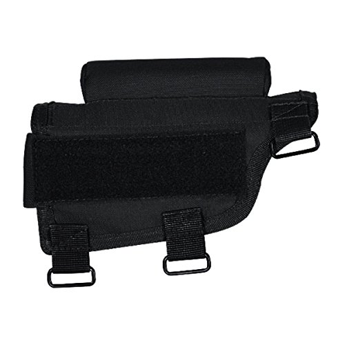 Voodoo Tactical - Adjustable Rifle Buttstock Cheek Rest - Black Nylon with Ammo Carrier Case