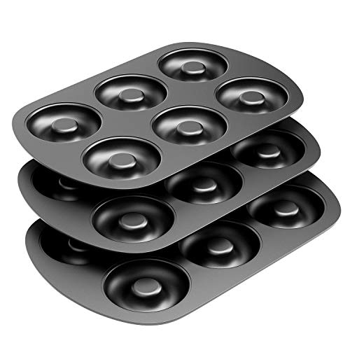 "Non-Stick 6-Cavity Donut Baking Pans, Makes Individual Full-Sized 3 1/4"" Donuts, Set of 3"
