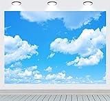 RUINI - Fondo de poliéster con diseño de nubes azules y blancas