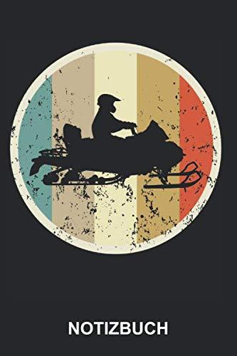 Notizbuch: Schneemobil Motorschlitten Schneemotorrad Wintersport Schnee Winter Sport Retro Vintage Grunge Style | Notizbuch, Tagebuch, Notizheft, Schreibheft | ca. A5 mit Linien | 120 Seiten liniert