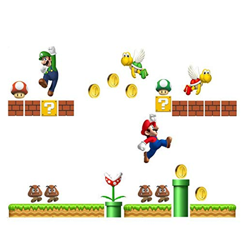 Super Mario Build a Scene Peel and Stick Wall Decal Stickers Wall Decals Stickers DIY Removable Stick Baby Boys Girls Kids Room Nursery Wall Mural Decor