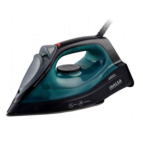 Inalsa Steam Iron Ariel - 1400W   Temperature Control   Continuous Steam, 0.8g   Shot Steam Burst   Vertical Steam   Self Cleaning Function   Powerful Spray   Non-Coated Sole Plated   Green