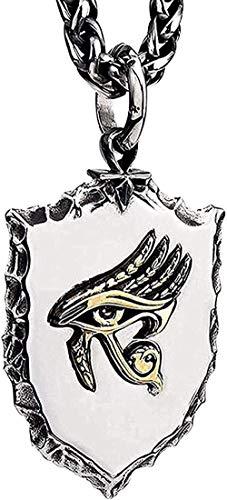 CCXXYANG Co.,ltd Collar Punk Titanio Acero Egipcio Oro Ojo De Horus Escudo Amuleto Colgante Collar para Hombres Niños 27 Pulgadas Cadena Colgante Collar para Mujeres Hombres