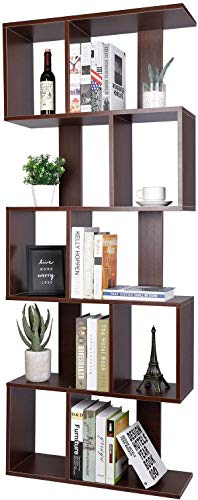 Homfa Bookshelf 70 in Height, Bookcase 6 Shelf Free Standing Display Storage Shelves Standard Organization Collection Decor Furniture for Living Room Home Office, Black