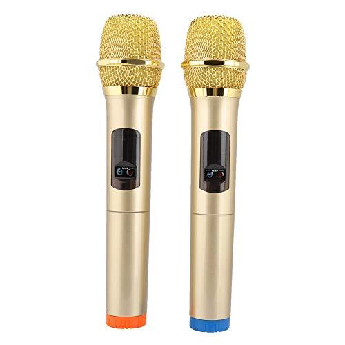 ASHATA Micrófono Inalámbrico, Kit de Receptor de Sistema de Micrófono Portátil, Micrófono de Mano Inalámbrico para Karaoke o Speech (2 PCS)