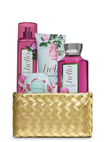 Bath and Body Works HELLO BEAUTIFUL Gold Woven Basket Gift Kit - BODY LOTION - FRAGRANCE MIST - SHOWER GEL AND BATH FIZZ