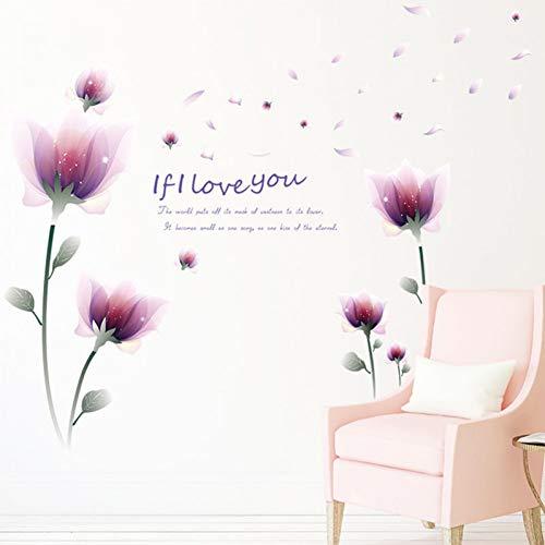 Dream Pink Flowers Pegatinas de pared Decoración para el hogar Sala de bodas Decoración del dormitorio Accesorios para el hogar extraíbles Mural Art Decal