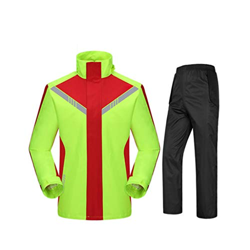 Byrhgood Regenbekleidung Regenmantel Regenhosenanzug, Split Fashion Outdoor Regenmantel, Unisex, Geeignet zum Reiten wasserdichtes Fischen (Color : Red+Green, Size : XXL)