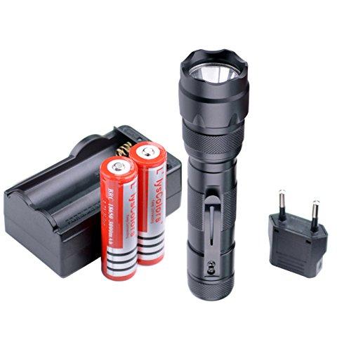 Llys Colors WF-502B - Linterna LED, práctica, ultrabrillante, con 5-modos, baterías y...