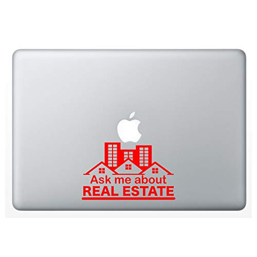 """Crazy4Decals Ask ME About Real Estate Decal Vinyl Sticker for Laptop Notebook MacBook Air/Pro Dell HP Walls Windows, Computers, Water Bottles and More (Red / 6"""")"""