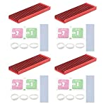 Unxuey 4Pcs Set 2.75 x 0.86 x 0.23 Inch Red M.2 Solid State Hard Disk Heat Sink with Thermal Pad Computer Notebook NGFF Radiator Heatsink for Router, CPU, North and South Bridge Chip,etc