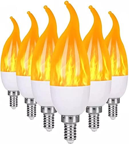 6-PC Bombilla de Efecto de Llama LED E14 Lámpara de candelabro Bombilla de decoración navideña Ángulo de Haz de 360 ° E14 Bombilla de Llama de Base para iluminación de Paisaje