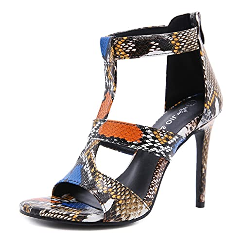 DZQQ Sandales d'été pour Dames 2021 Couleur Peau de Serpent Orteils Ouverts Stiletto Sandales Romaines Sangle de Cou-de-Pied Fermeture à glissière arrière Chaussures pour Femmes personnalité