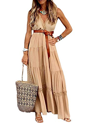 CORAFRITZ Vestido largo de verano para mujer, color liso, con escalones, cuello...