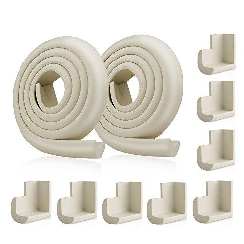 ZWOOS 2 * 2M Di Protezione per Bordi & 8 Protezioni Angolari per Copre Oltre 4 Metri di Spigoli Vivi Ed Angoli (Beige)