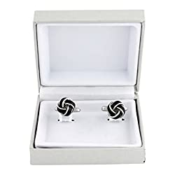 cufflinks for men Silver with Black Knot Design Cuff Link set