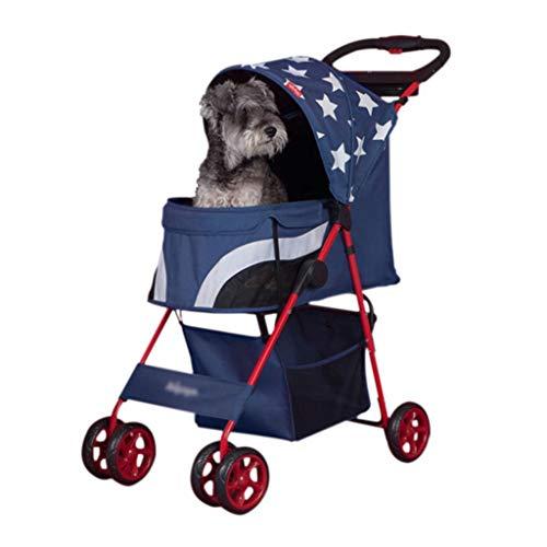 Xiaodou Großer Multifunktion Haustierwagen Pet Stroller for Katzen/Hunde einfach zu gehen Folding Travel Träger Storage Basket Abnehmbarer Leichter Haustierwagen
