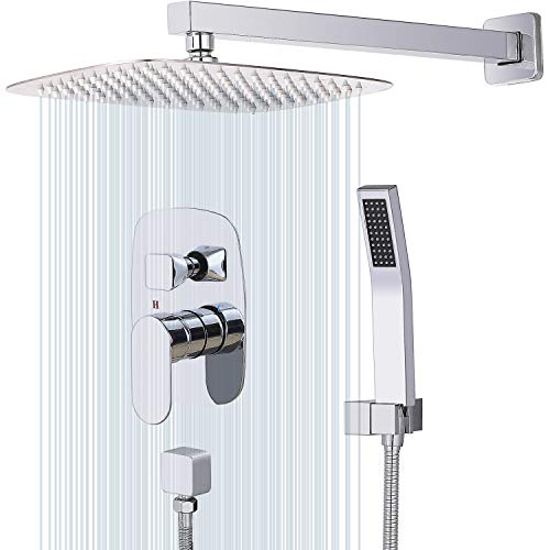 Great Deal! CWM 12 Inches Wall Mount Shower System Bathroom Shower Faucet Sets with Rainfall Mixer S...