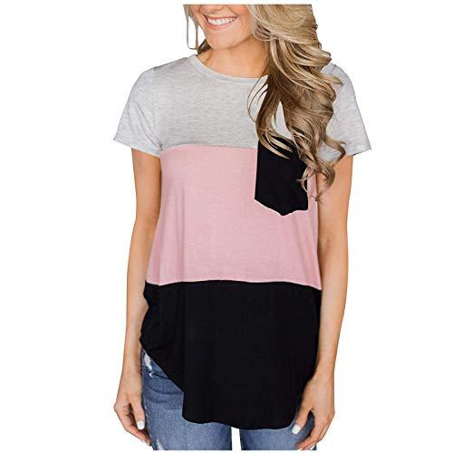Janly Clearance Sale Blusa para mujer, de manga corta, informal, con cuello redondo, para verano, con descuentos para el da de San Patricio (rosa-L)