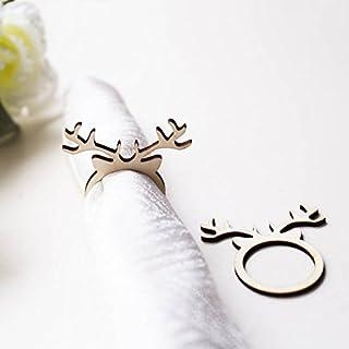 RUIXUAN LASER CUT 15PCS of Rustic Wedding Wood Napkin Rings, Christmas Reindeer,Reindeer Napkin Rings,Laser Cut Antler Pac...