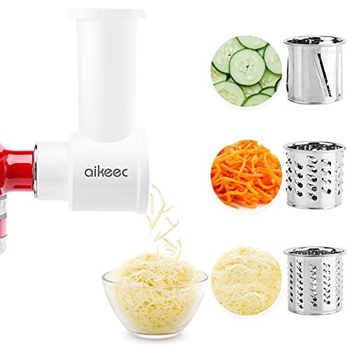 aikeec Slicer Shredder Zubehör für Kitchen Aid Gemüseschneider,mit Reinigungsbürste,3 Schnellwechselklingen,Edelstahl(OEM)